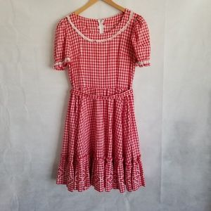 1950s Unlabeled Red & White Gingham Squaw Dress